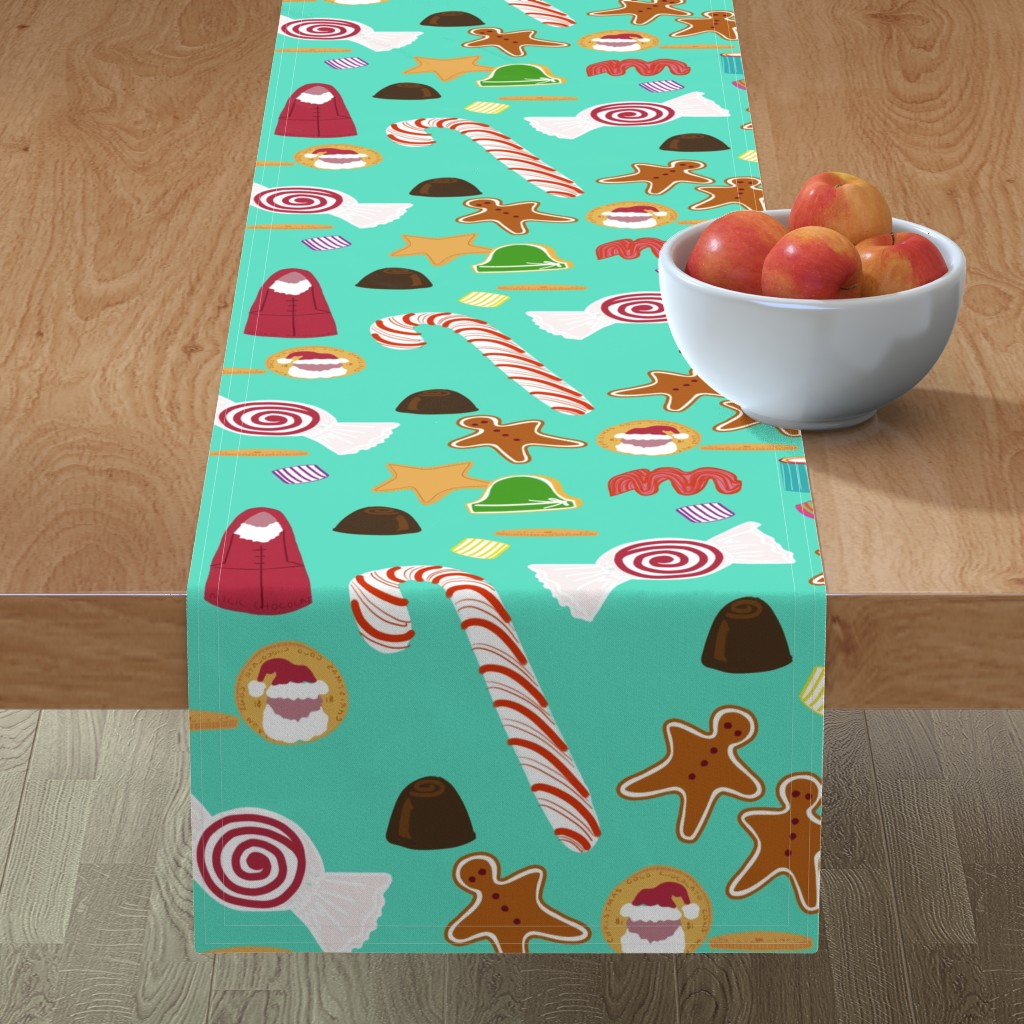 Minorca Table Runner featuring Christmas Sweeties in Tiffany Aqua by paper_and_frill
