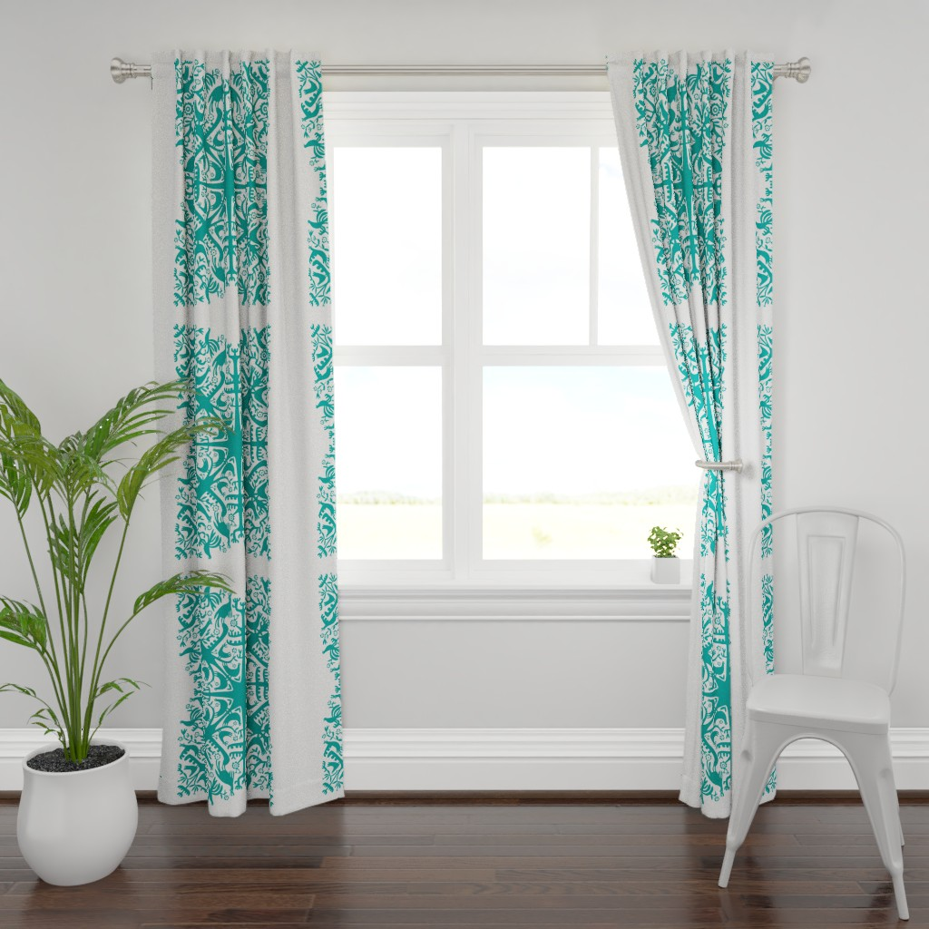Plymouth Curtain Panel featuring hawaiian quilt - teal by endemic