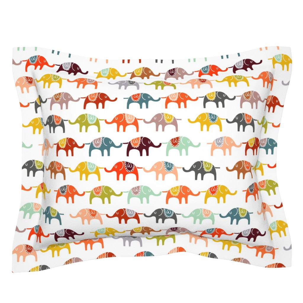 Sebright Pillow Sham featuring elephant march by endemic