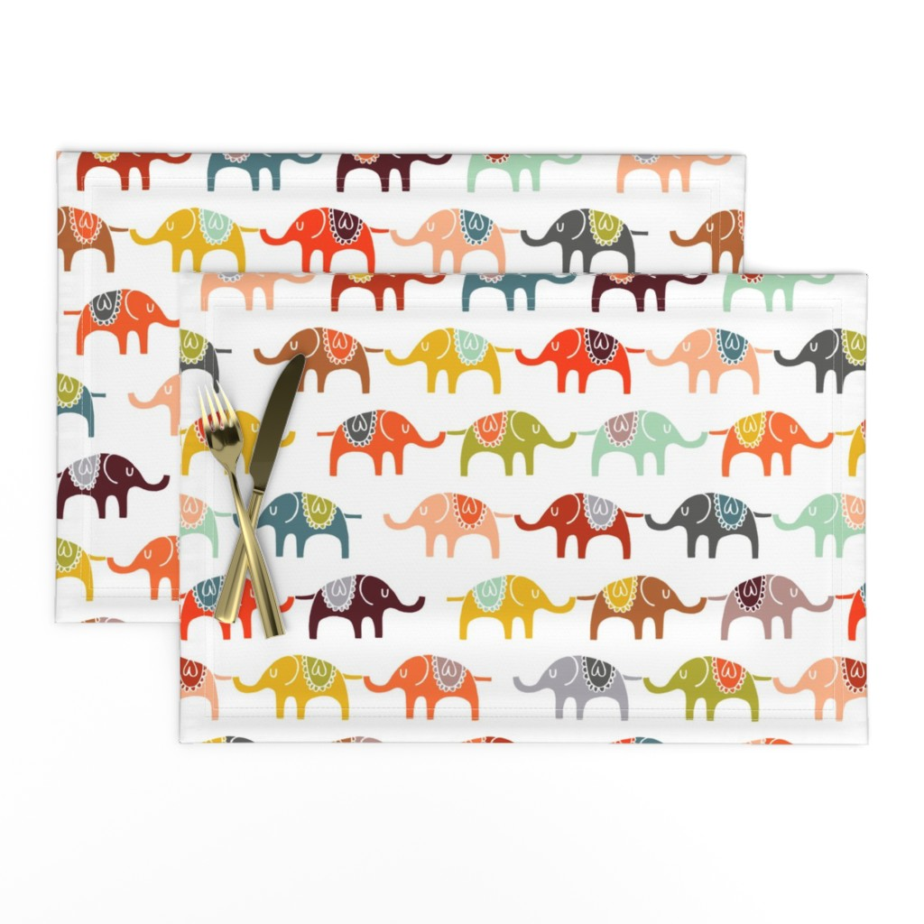 Lamona Cloth Placemats featuring elephant march by endemic