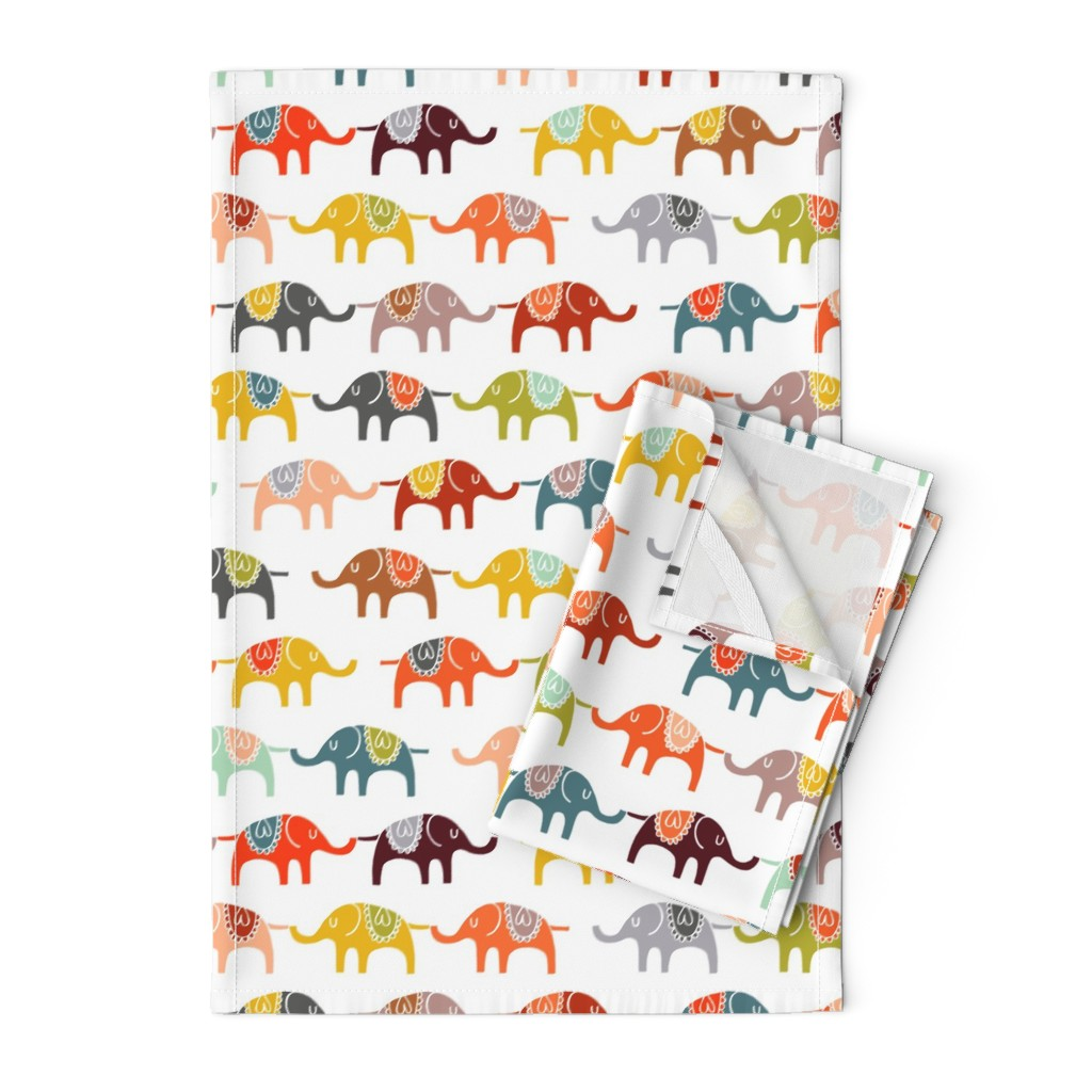 Orpington Tea Towels featuring elephant march by endemic