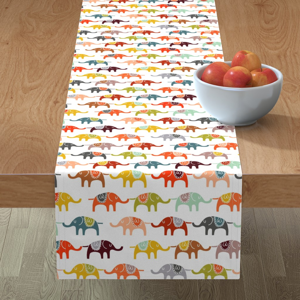 Minorca Table Runner featuring elephant march by endemic