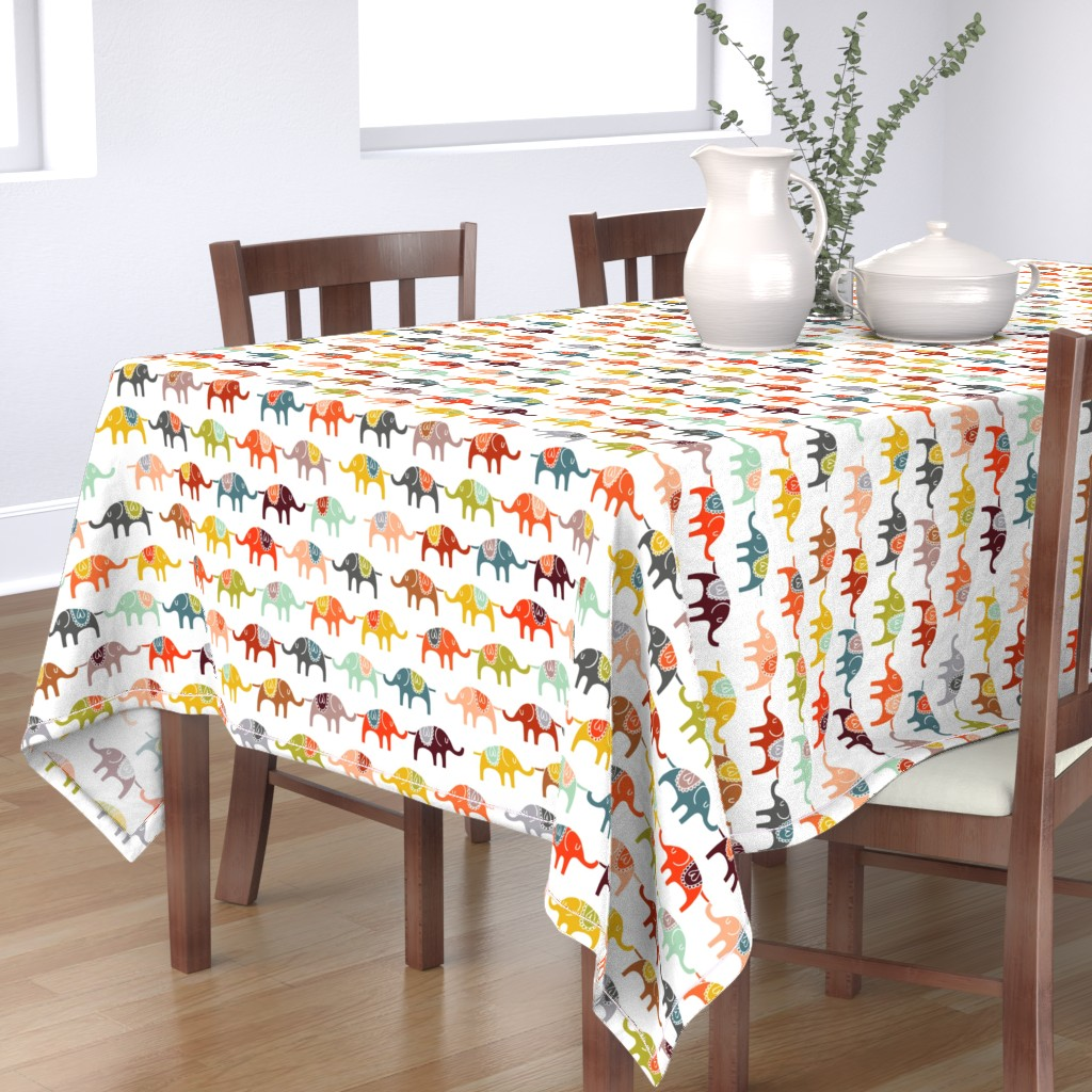 Bantam Rectangular Tablecloth featuring elephant march by endemic