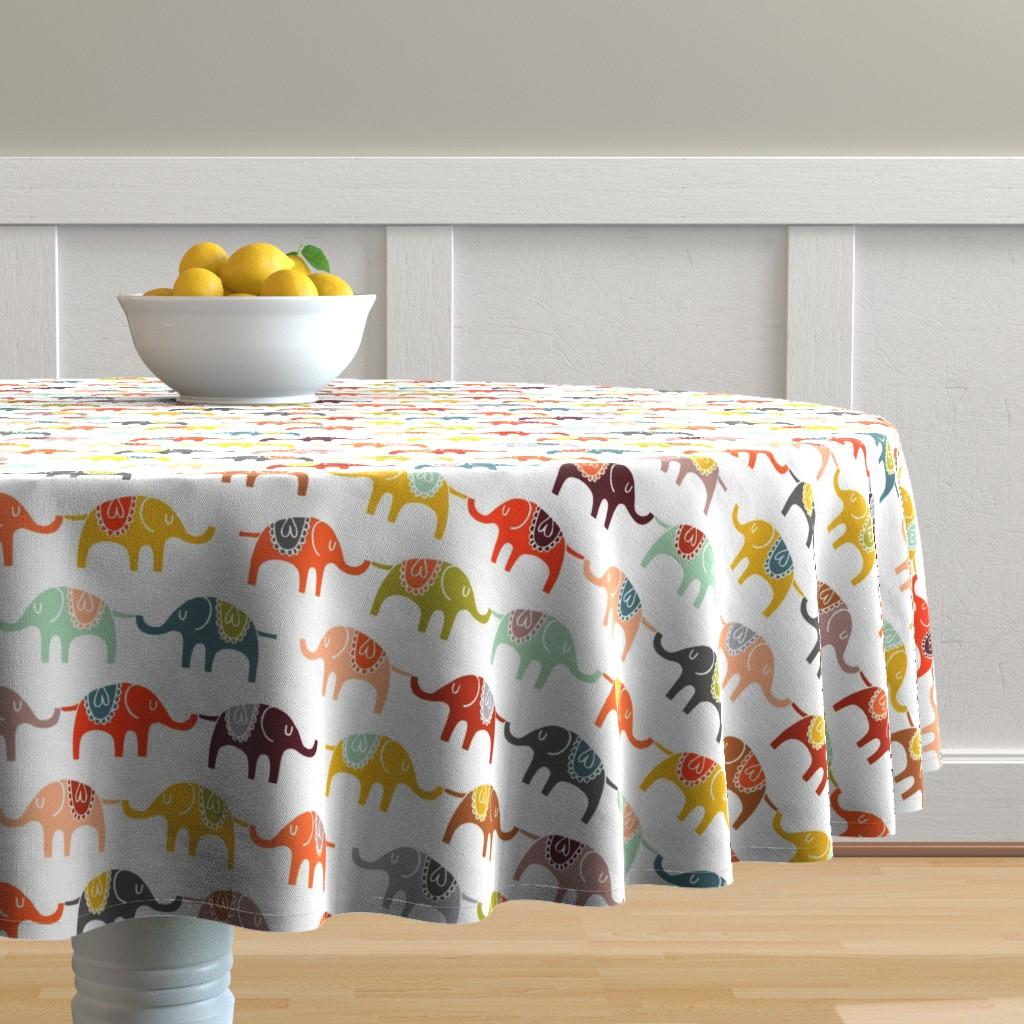 Malay Round Tablecloth featuring elephant march by endemic