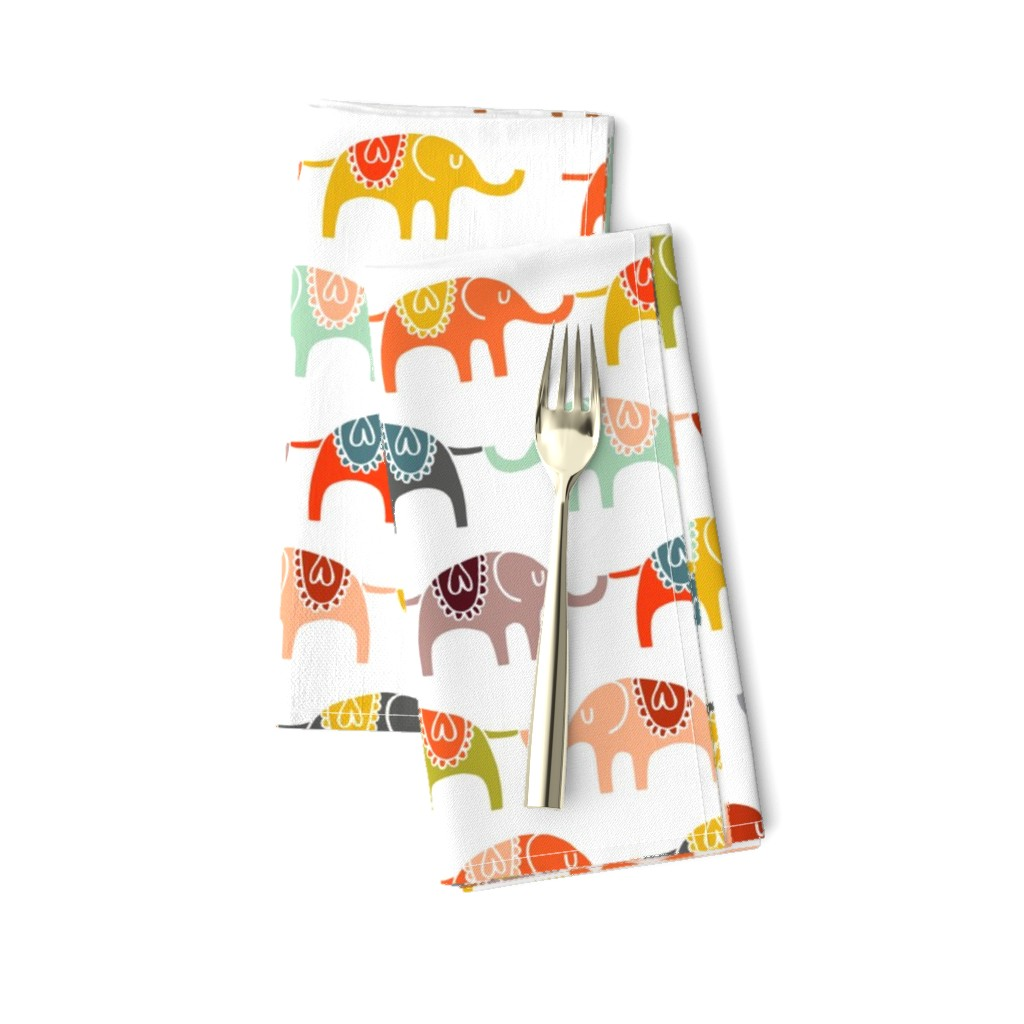 Amarela Dinner Napkins featuring elephant march by endemic