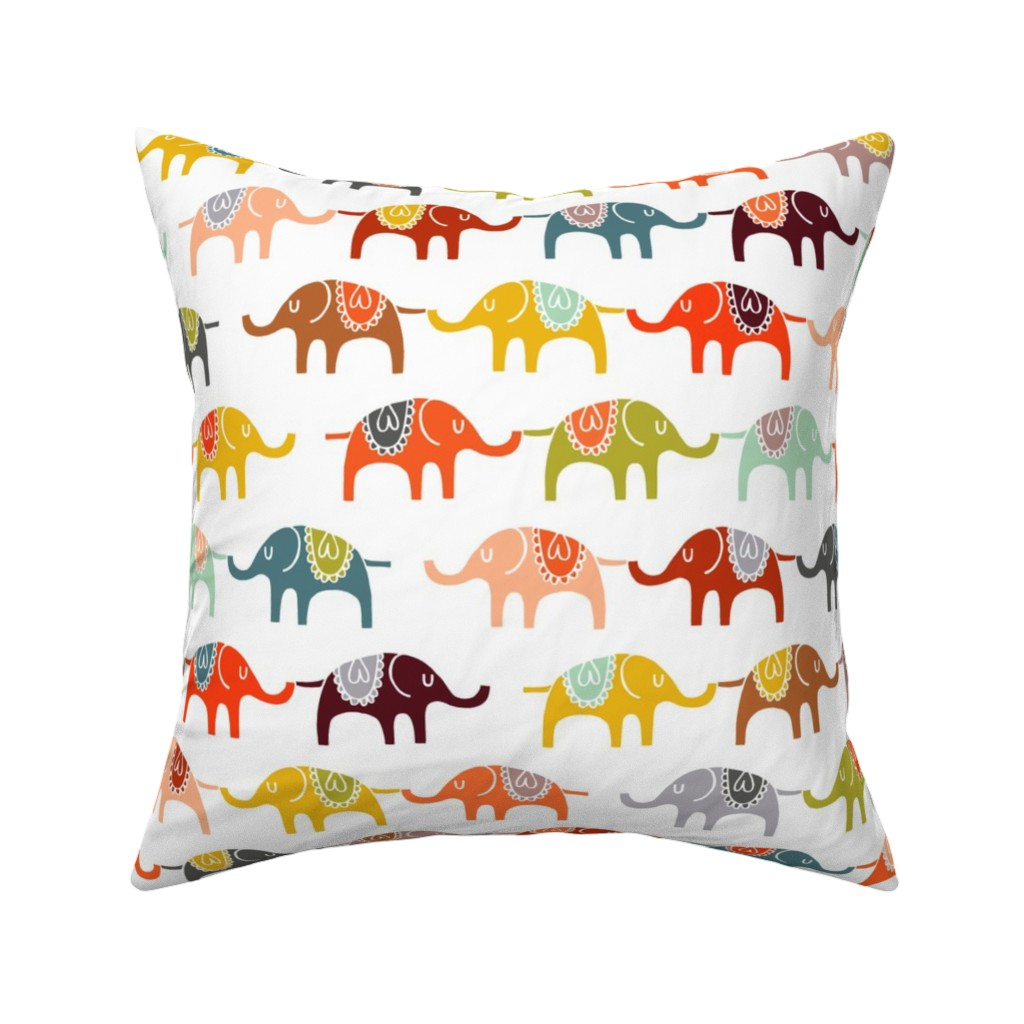 Catalan Throw Pillow featuring elephant march by endemic