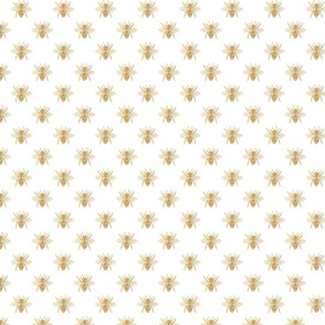 Gold Queen Bees on White