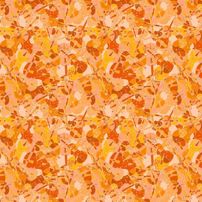 scattered violins, violas, cellos in orange, yellow and pink