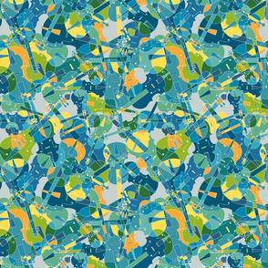 violins, violas, cellos in blue, green, orange and yellow on grey version 1