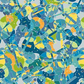 violins, violas, cellos in blue, green, orange and yellow on grey version 2