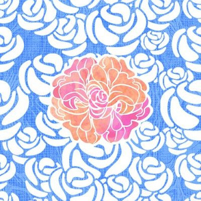 White Roses & Peonies on Blue