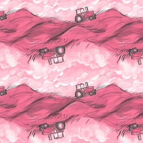 Pink Tractor Stripes