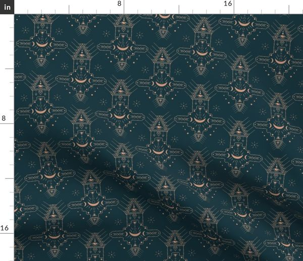 Fabric by the Yard Mystic universe moon & star sacred geometry