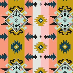 Tribal pastel Kilim with all seeing eye