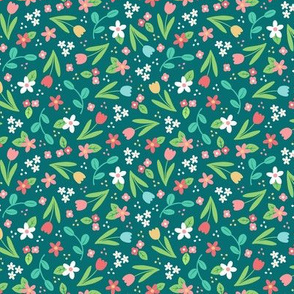 Ditsy Spring Flowers Teal