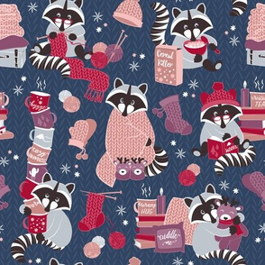 Small scale // Hygge raccoon // blue background red pink and purple wool