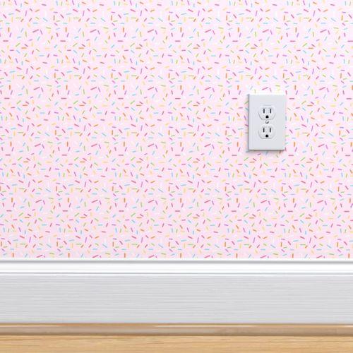 Wallpaper Rainbow Sprinkles on pale pink