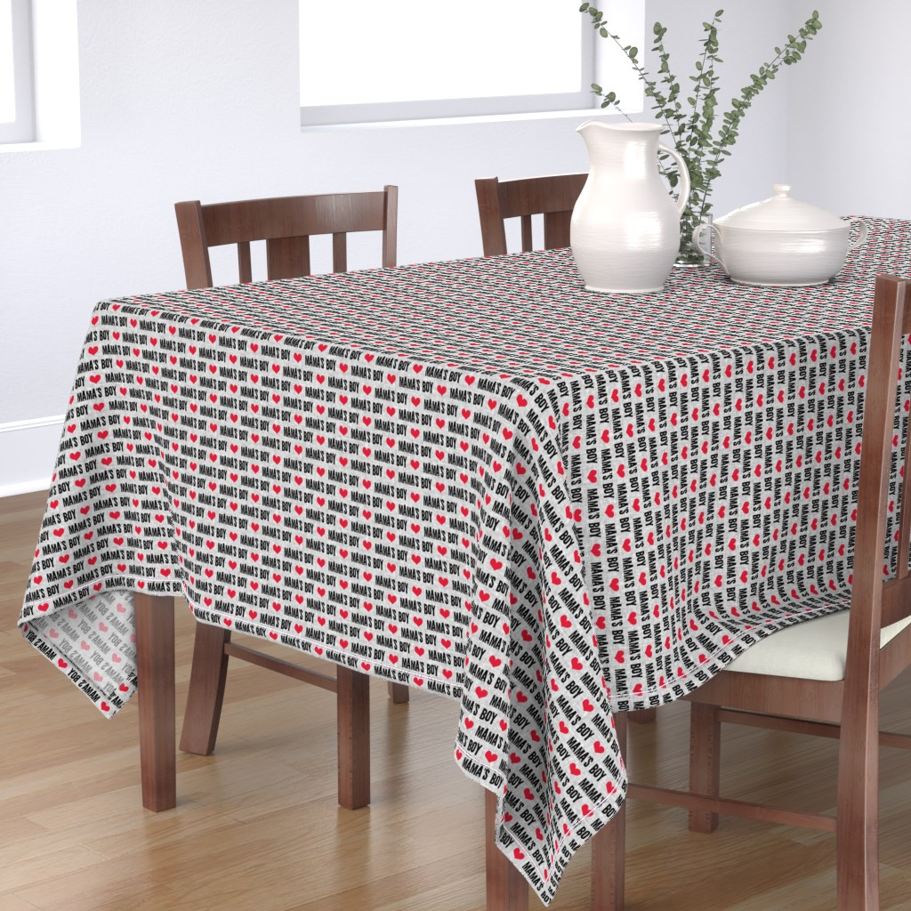 Bantam Rectangular Tablecloth featuring Mama's boy - valentines day fabric by littlearrowdesign