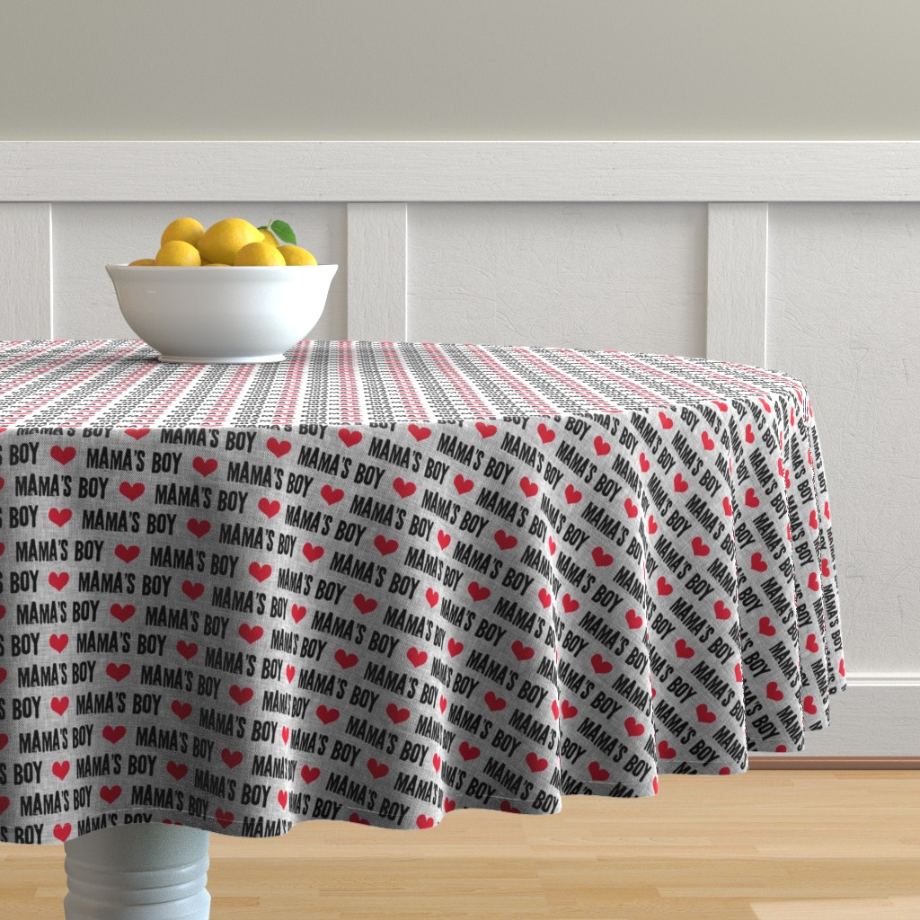 Malay Round Tablecloth featuring Mama's boy - valentines day fabric by littlearrowdesign