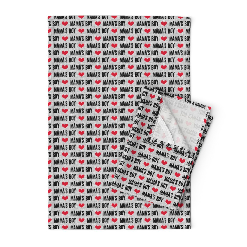 Orpington Tea Towels featuring Mama's boy - valentines day fabric by littlearrowdesign