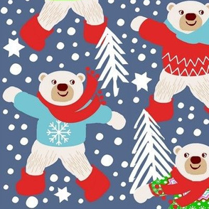Scandinavian Polar Bears,  fair isle, snow dancing winter wonderland,  winter  Snow