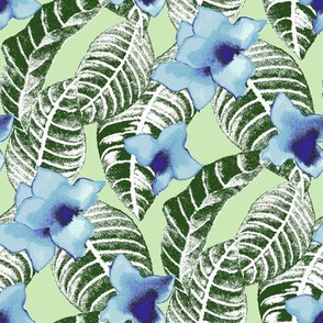 tropical-flower-and-palm-leaf-design-on-green