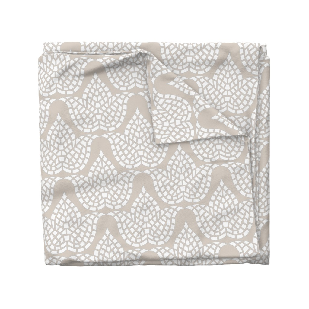 Wyandotte Duvet Cover featuring Mosaic Botanical Hygge Beige Grey White by theartofvikki