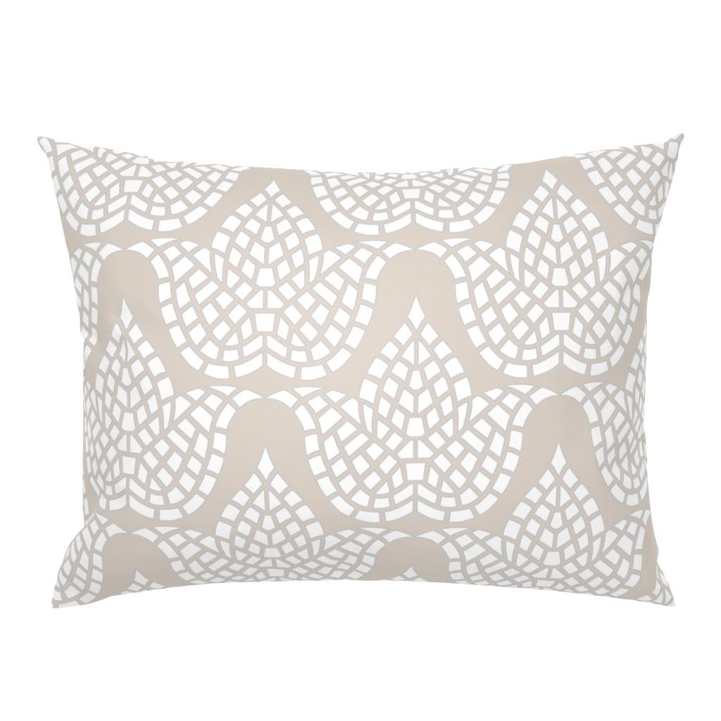 Campine Pillow Sham featuring Mosaic Botanical Hygge Beige Grey White by theartofvikki