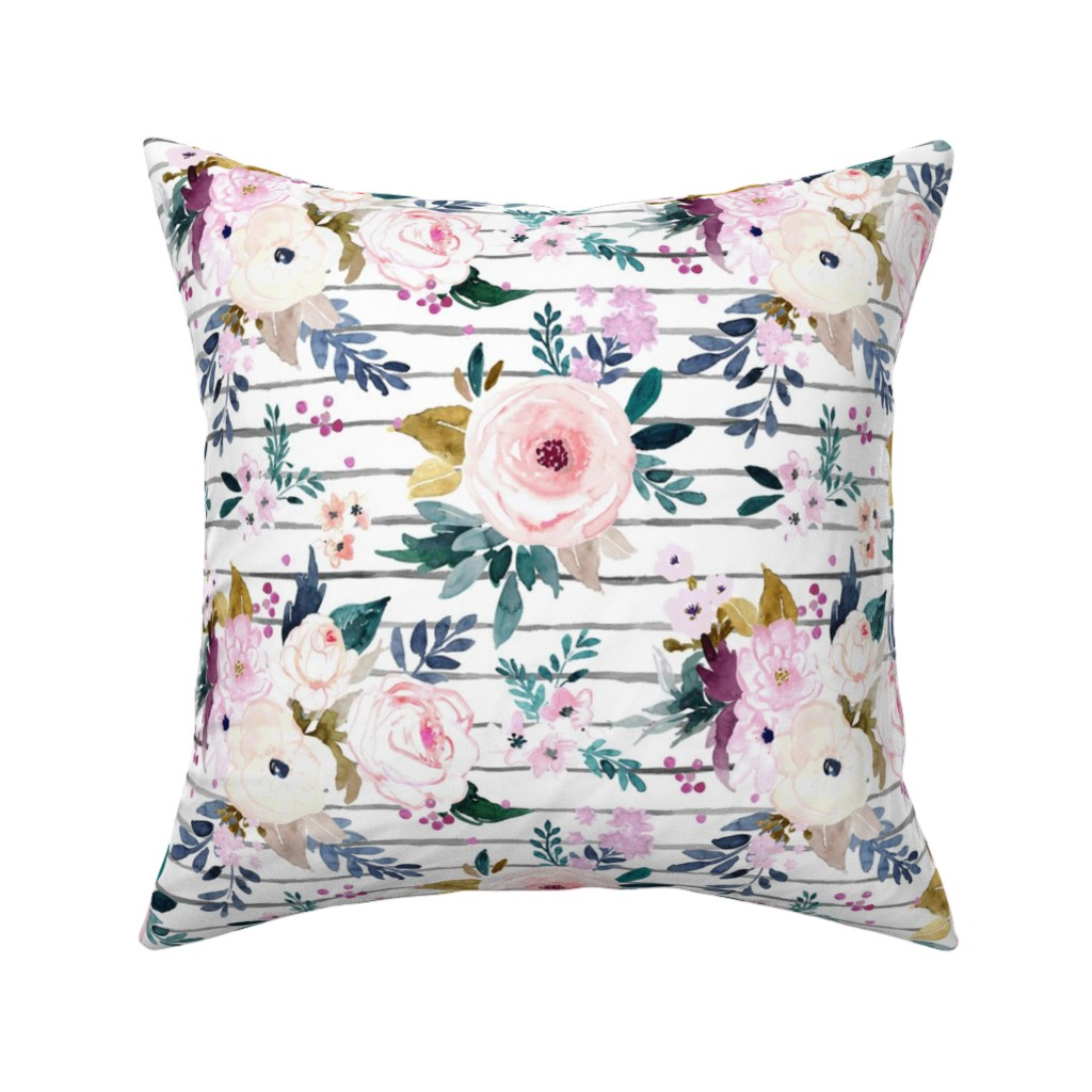 Catalan Throw Pillow featuring Harper Floral Stripe by crystal_walen