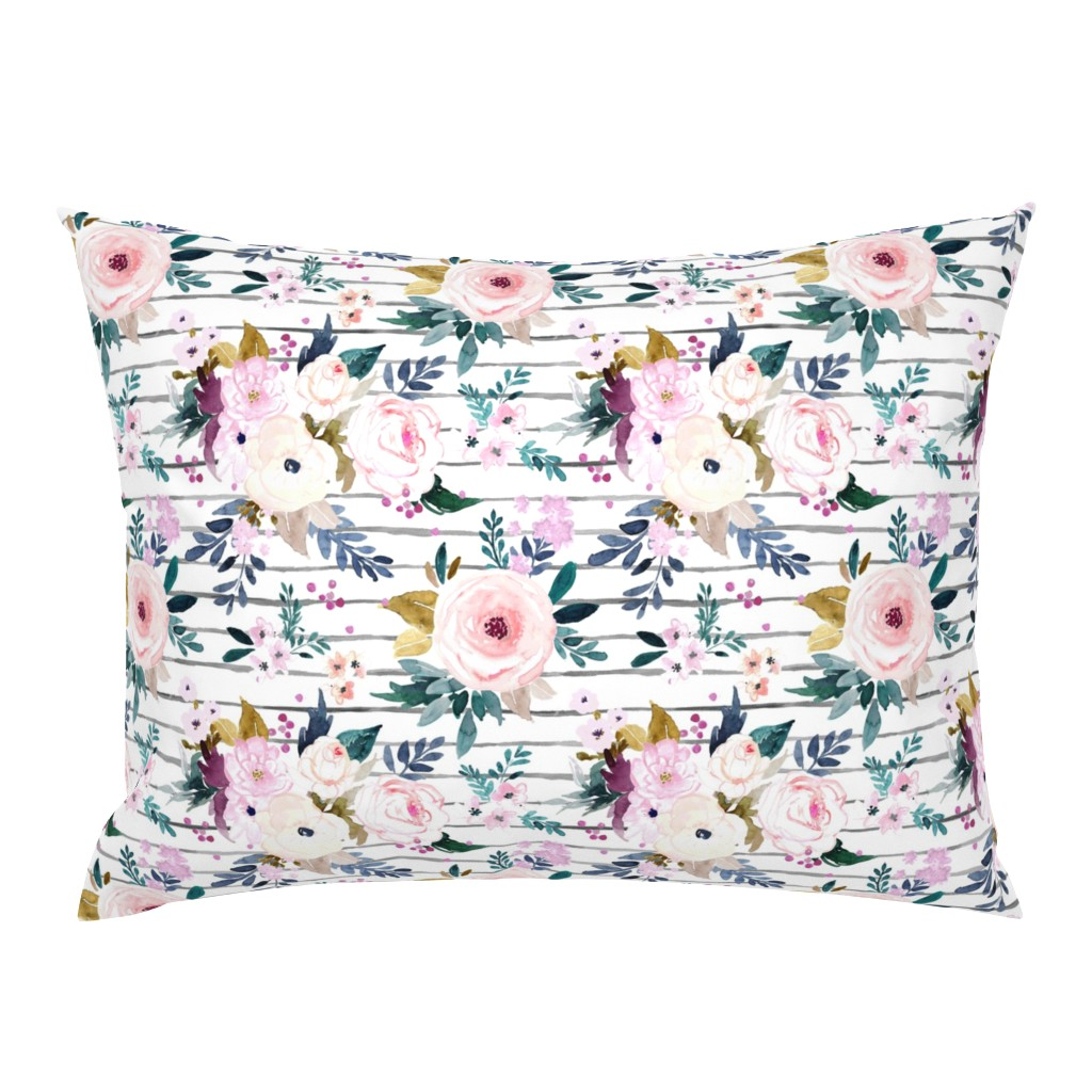 Campine Pillow Sham featuring Harper Floral Stripe by crystal_walen