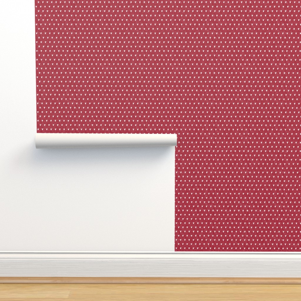 Isobar Durable Wallpaper featuring hearts on red linen || valentines day by littlearrowdesign
