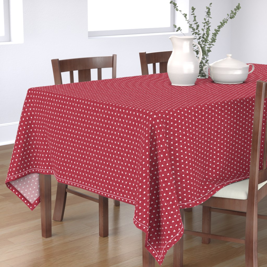 Bantam Rectangular Tablecloth featuring hearts on red linen    valentines day by littlearrowdesign