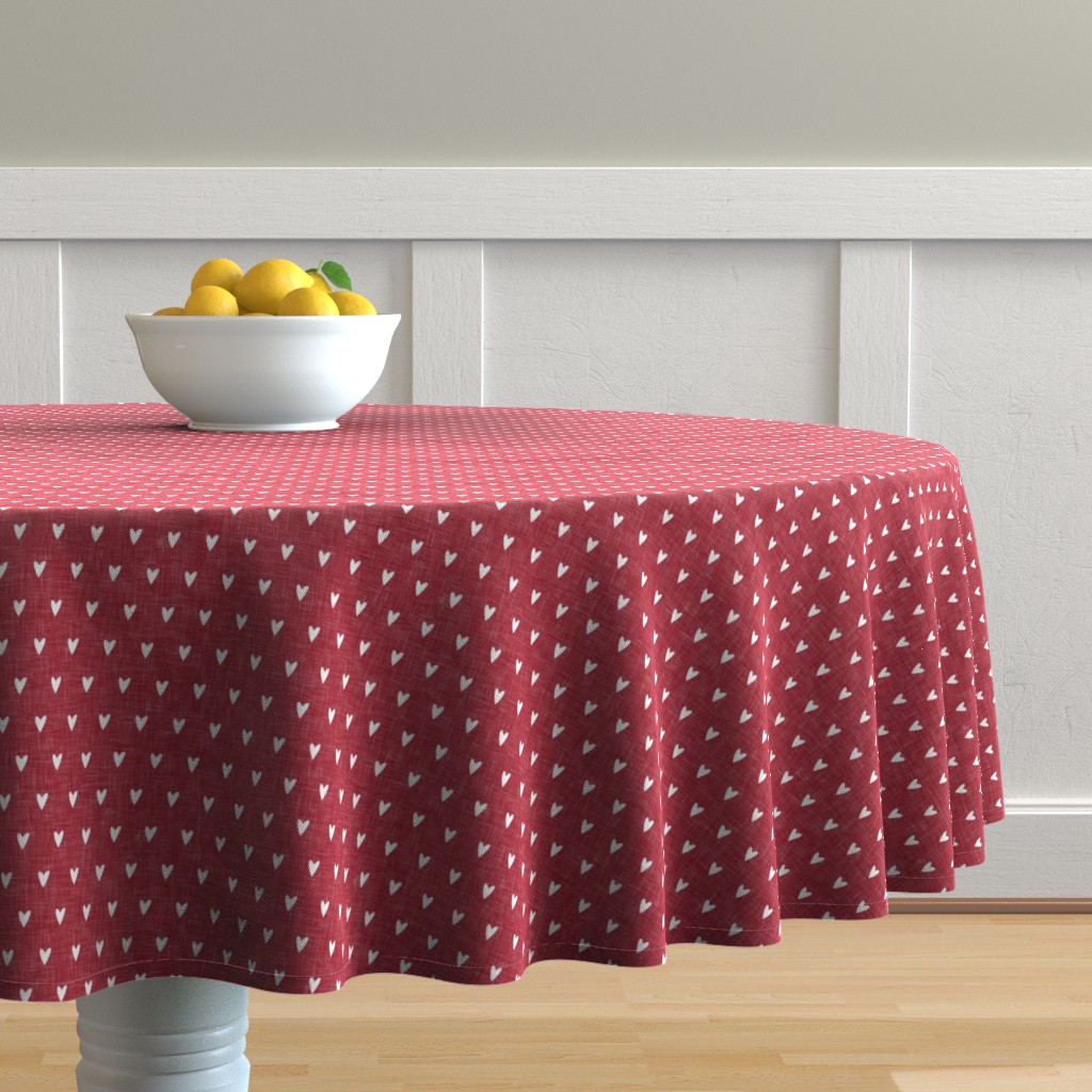 Malay Round Tablecloth featuring hearts on red linen || valentines day by littlearrowdesign