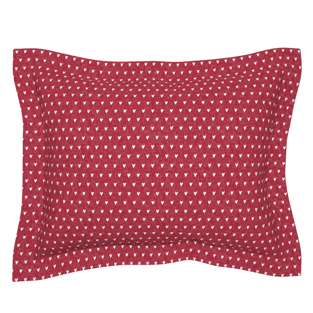 Sebright Pillow Sham featuring hearts on red linen || valentines day by littlearrowdesign