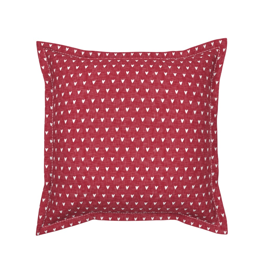 Serama Throw Pillow featuring hearts on red linen || valentines day by littlearrowdesign