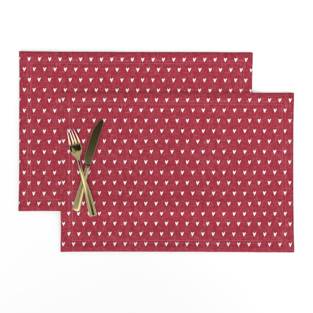 Lamona Cloth Placemats featuring hearts on red linen || valentines day by littlearrowdesign