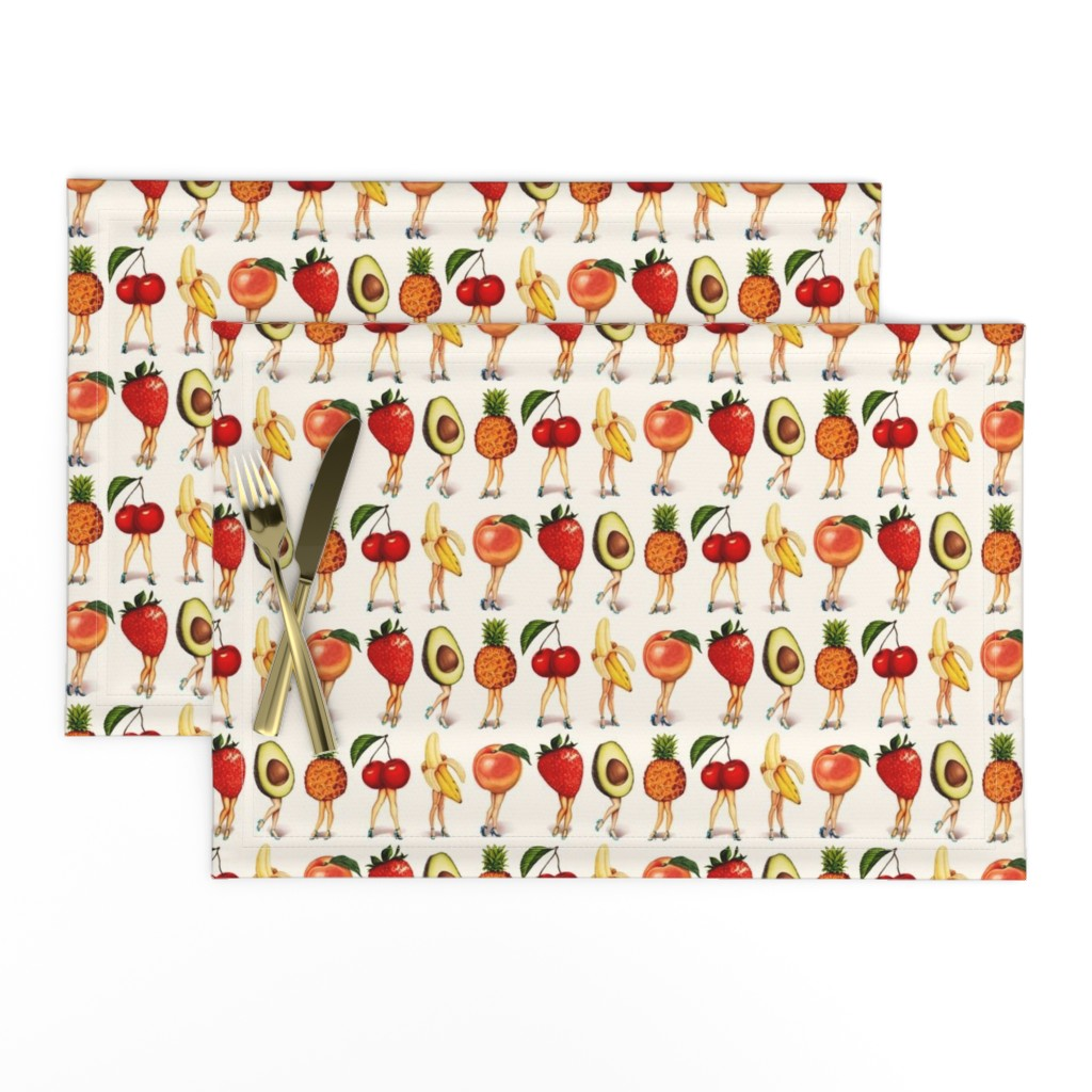 "Lamona Cloth Placemats featuring Fruit Girls 2.5"" by kellygilleran"