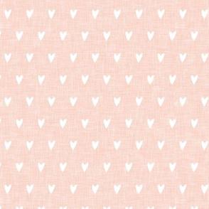 hearts on salmon peach linen    valentines day