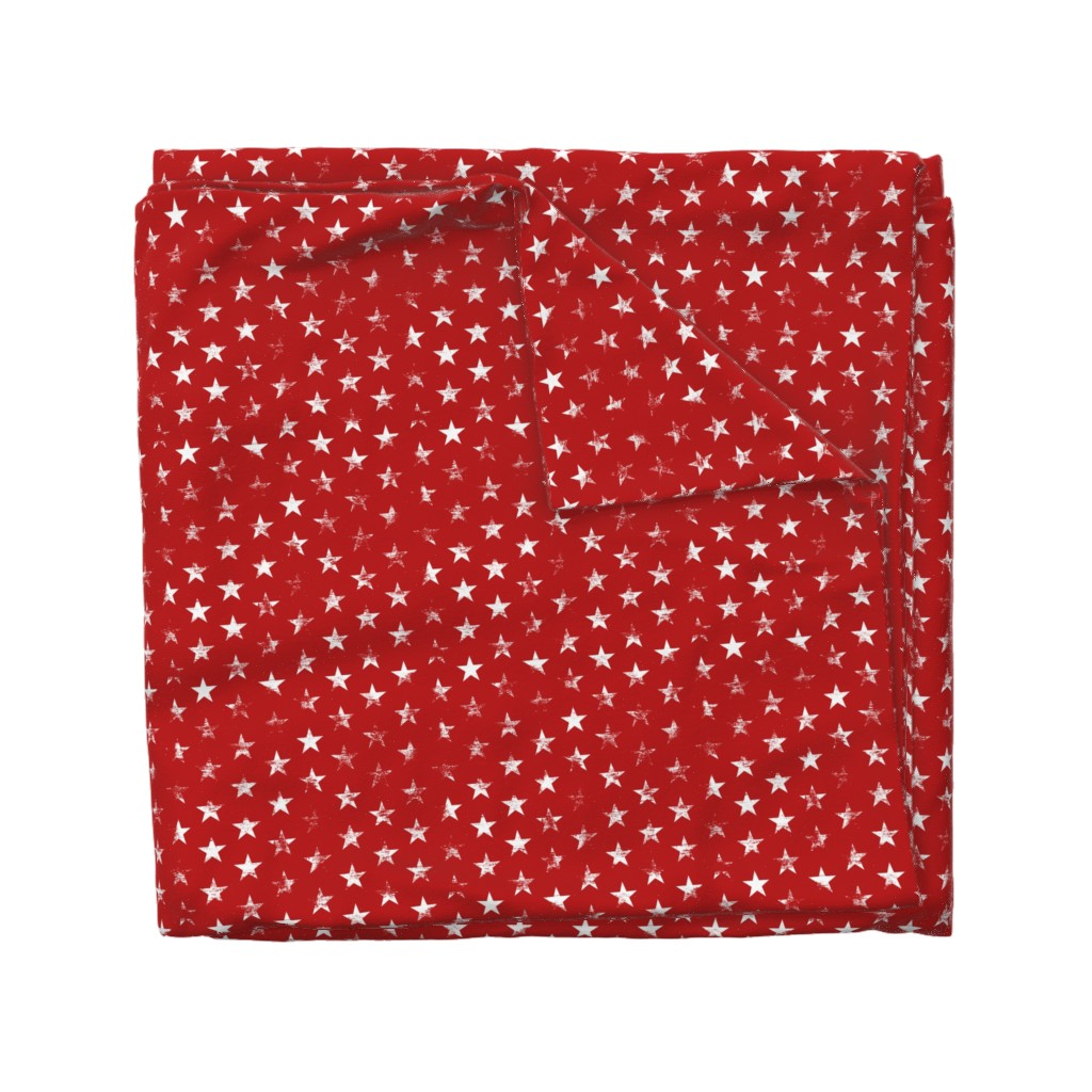 Wyandotte Duvet Cover featuring Distressed White Stars on Red (Grunge Vintage 4th of July American Flag Stars) by sweeterthanhoney