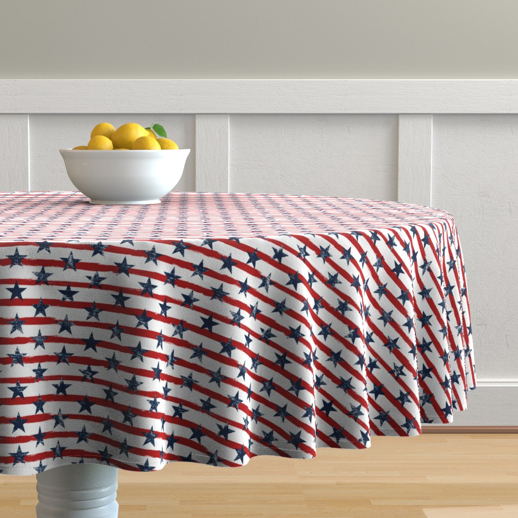 Malay Round Tablecloth featuring Distressed Navy Stars on Red Stripes (Grunge Painted Vintage Distressed 4th of July American Flag Stripes) by sweeterthanhoney