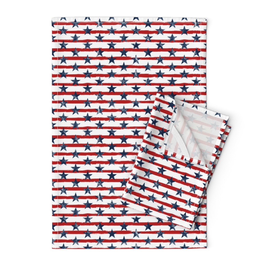 Orpington Tea Towels featuring Distressed Navy Stars on Red Stripes (Grunge Painted Vintage Distressed 4th of July American Flag Stripes) by sweeterthanhoney