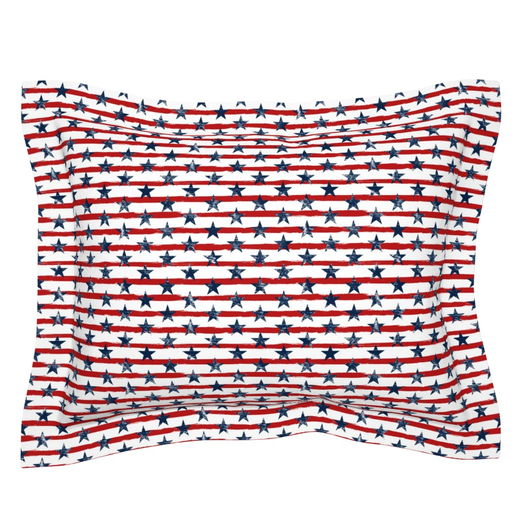 Sebright Pillow Sham featuring Distressed Navy Stars on Red Stripes (Grunge Painted Vintage Distressed 4th of July American Flag Stripes) by sweeterthanhoney