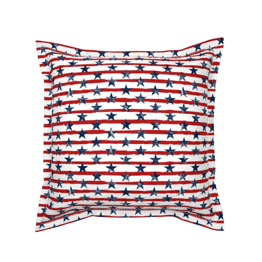 Serama Throw Pillow featuring Distressed Navy Stars on Red Stripes (Grunge Painted Vintage Distressed 4th of July American Flag Stripes) by sweeterthanhoney