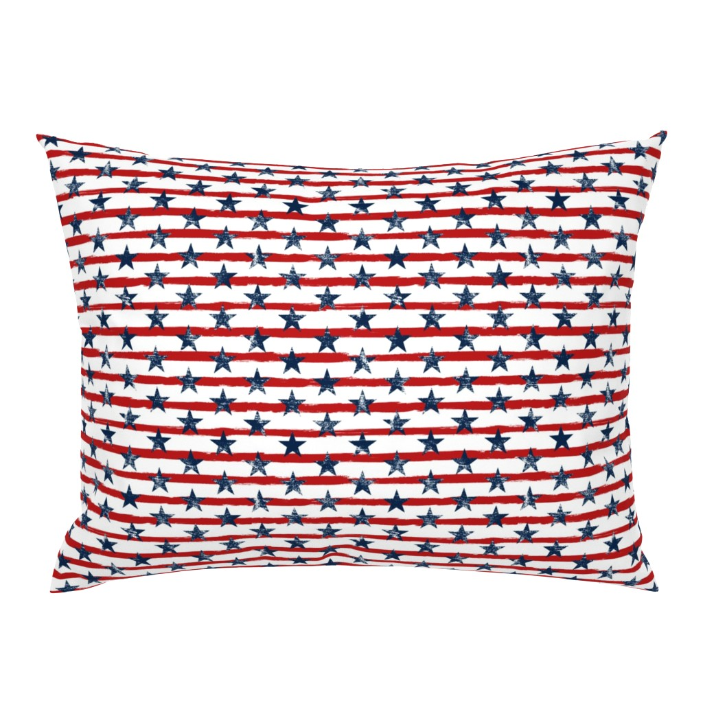 Campine Pillow Sham featuring Distressed Navy Stars on Red Stripes (Grunge Painted Vintage Distressed 4th of July American Flag Stripes) by sweeterthanhoney