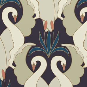 Art Deco Swans - Deep Plum Large Scale