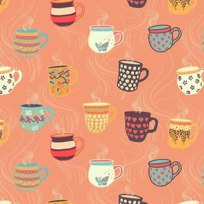 Steaming tea cups on a coral background. Colorful coffee mugs. Hot beverage.
