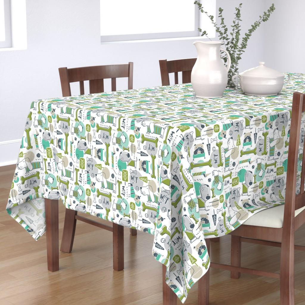 Bantam Rectangular Tablecloth featuring Dog Park - Aqua Green by heatherdutton