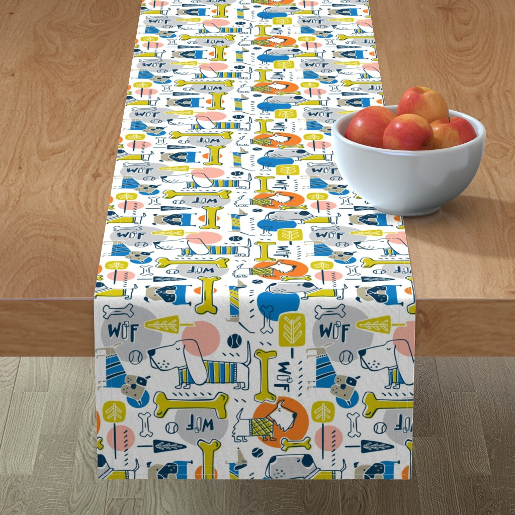 Minorca Table Runner featuring Dog Park - Blue Orange by heatherdutton
