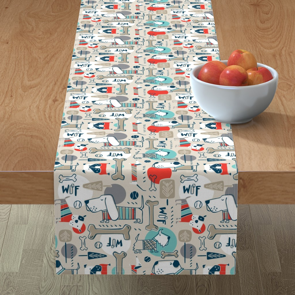 Minorca Table Runner featuring Dog Park - Tan Retro by heatherdutton