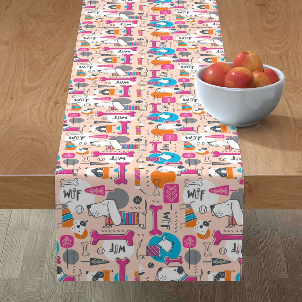 Minorca Table Runner featuring Dog Park - Peach Pink by heatherdutton